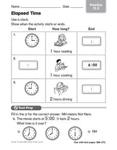 Elapsed Time 2 Worksheet