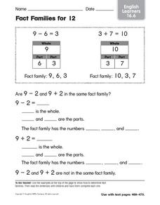 Fact Families for Twelve Worksheet