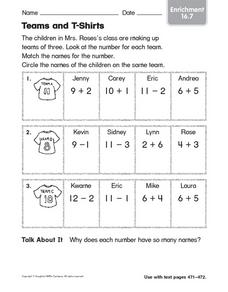 Tams and T-Shirts Worksheet