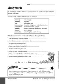 Lively Words Worksheet