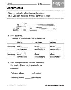 Centimeters - Homework Worksheet