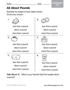 All About Pounds Worksheet
