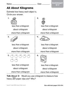 All About Kilograms Worksheet