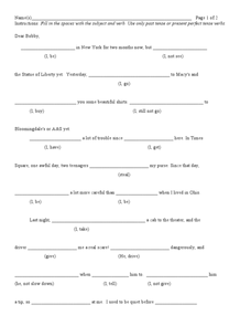 Simple past or present perfect Worksheet