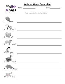 Scrambled Animal Words Worksheet