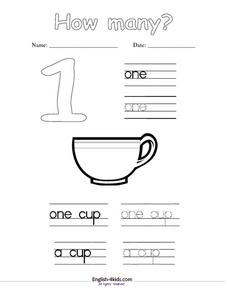 How many? number 1 Worksheet