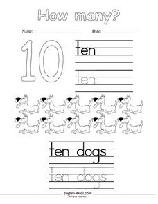 "The Number and Word ""Ten"" Worksheet"