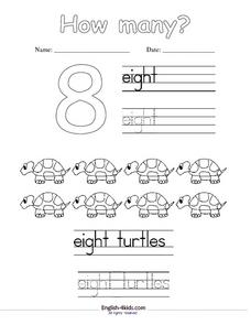 How many? number 8 Worksheet