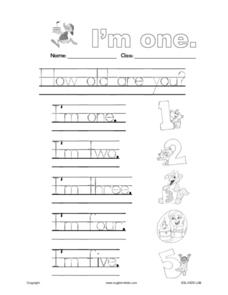 Handwriting:  How Old Are You? Worksheet