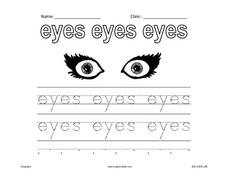 Handwriting Practice:  Eyes Worksheet