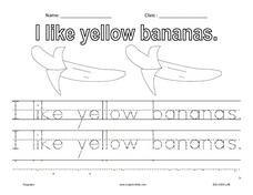 I Like Yellow Bananas Worksheet