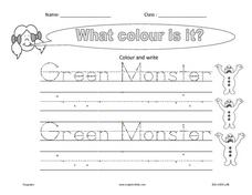Handwriting:  the Green Monster Worksheet