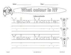 Handwriting:  Yellow Monster Worksheet