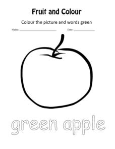 ESL: Fruit and Coloring Activity Worksheet
