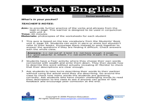 Total English Intermediate: What's in Your Pocket? Worksheet