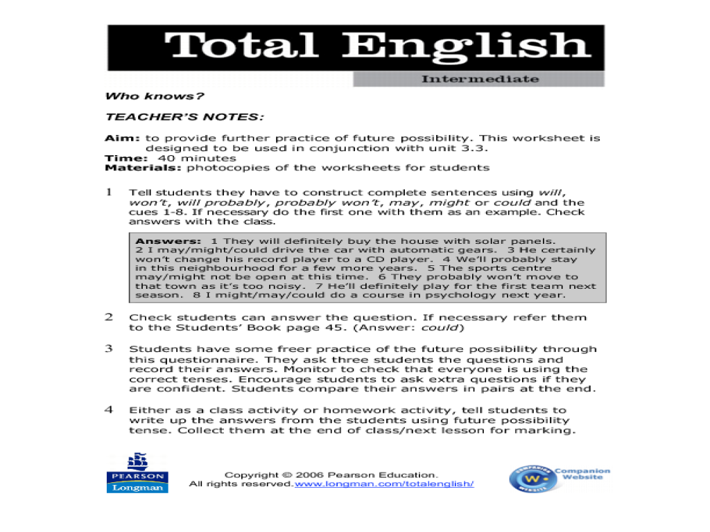 Total English Intermediate: Who Knows? Worksheet