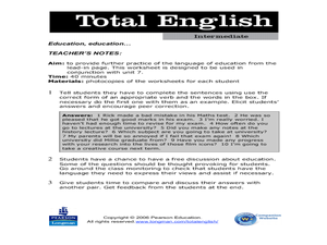 Total English Intermediate: Education Worksheet