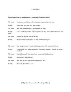 Reported Speech: A Bad Student Worksheet