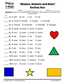 Shapes, Colors, and Sizes Spelling Quiz Worksheet