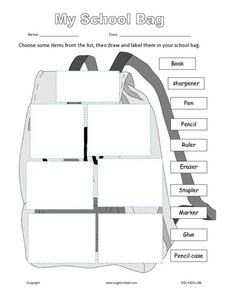 What's In Your School Bag? Worksheet