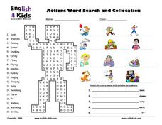 ESL: Actions Word Search and Collocation Worksheet