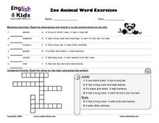 Word Exercises with Zoo Animals Lesson Plan