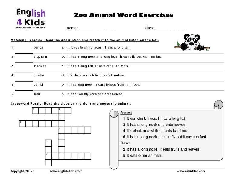 Word Exercises with Zoo Animals Lesson Plan for 3rd Grade ...