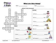 Action Verbs Crossword Worksheet