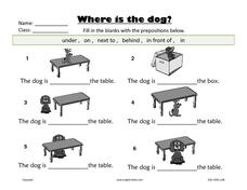 Prepositions:  Where Is the Dog? Worksheet