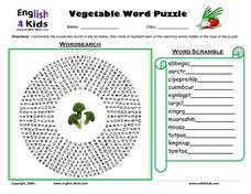 ESL: Vegetable Word Puzzle Worksheet