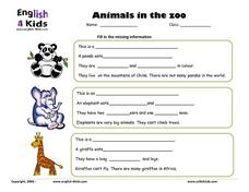 Animals in the zoo Lesson Plan