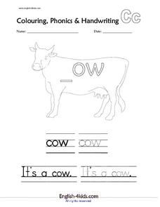 C  Is For Cow Worksheet