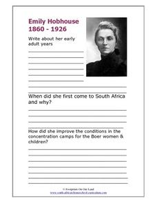 Emily Hobhouse, 1860-1926 Worksheet
