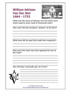 William Adriaan Van Der Stel Worksheet