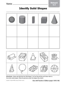Identify Solid Shapes 4 Worksheet