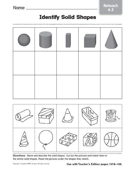 Identify Solid Shapes 4 Worksheet For 1st 2nd Grade