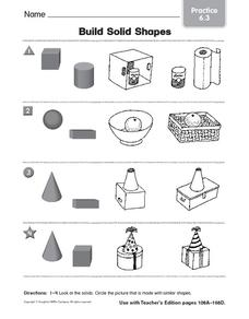 Build Solid Shapes 2 Worksheet