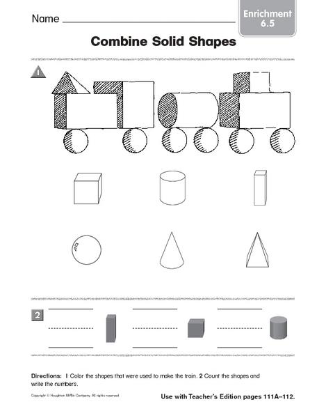 Combine Solid Shapes Enrichment Worksheet For