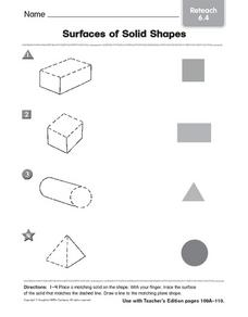 Surface of Solid Shapes: Reteach Worksheet