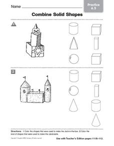 Combine Solid Shapes: Practice Worksheet