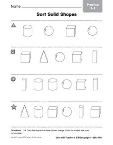 sort solid shapes practice worksheet for 1st 2nd grade lesson planet. Black Bedroom Furniture Sets. Home Design Ideas