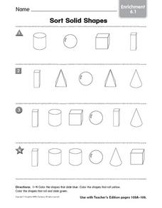 Sort Solid Shapes: Enrichment Worksheet