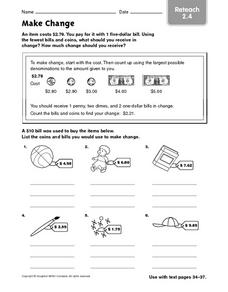 Make Change: Reteach Worksheet