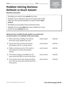 ELL: Estimate or Exact Answer? Worksheet