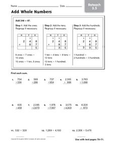 Add Whole Numbers: Reteach Worksheet