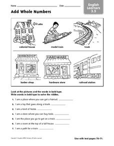 English Learners: Add Whole Numbers Worksheet