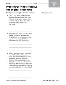 Problem-Solving Strategy: Use Logical Reasoning, Practice Worksheet