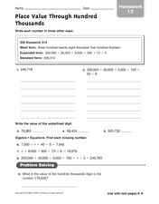 Place Value Through the Hundred Thousands 2 Worksheet