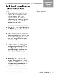 Addition Properties and Subtraction Rules: Problem Solving Worksheet