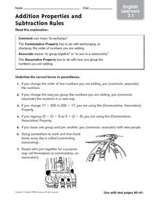 Addition Properties and Subtraction Rules: ELL Worksheet